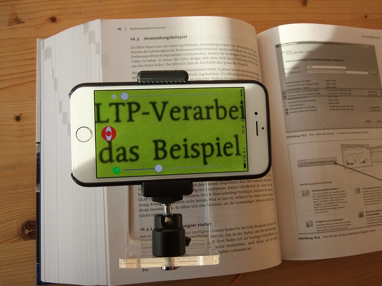 SmartReader with iPhone 6 running Magnifier App